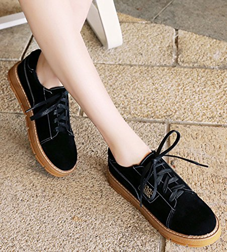 Oxfords IDIFU Shoes Top Toe Round Black Up Faux Low Sneakers Lace Suede Flat Womens Fashion qHr4RPq