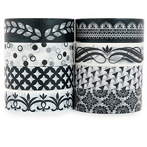 Roll Scroll (Crafty Rabbit Classic Washi Tape - Set of 8 Rolls - 262 Feet Total - Black and White)