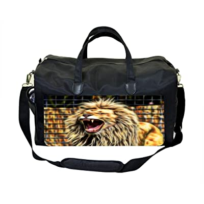 Fractal Roaring Lion PU Leather and Suede Weekender Bag