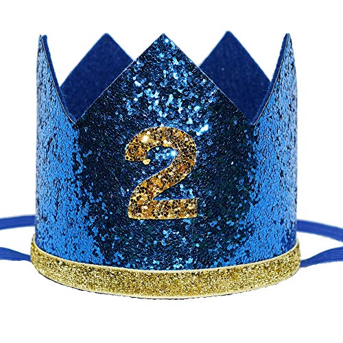 Maticr Shiny 2nd Birthday Crown Baby Boy Prince Headband Party Supplies (Large Royal Gold 2) -