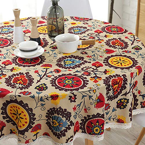 Lahome Bohemian Sunflower Tablecloth- Cotton Linen Table Cover Kitchen Dining Room Restaurant Party Decoration (Round - 60