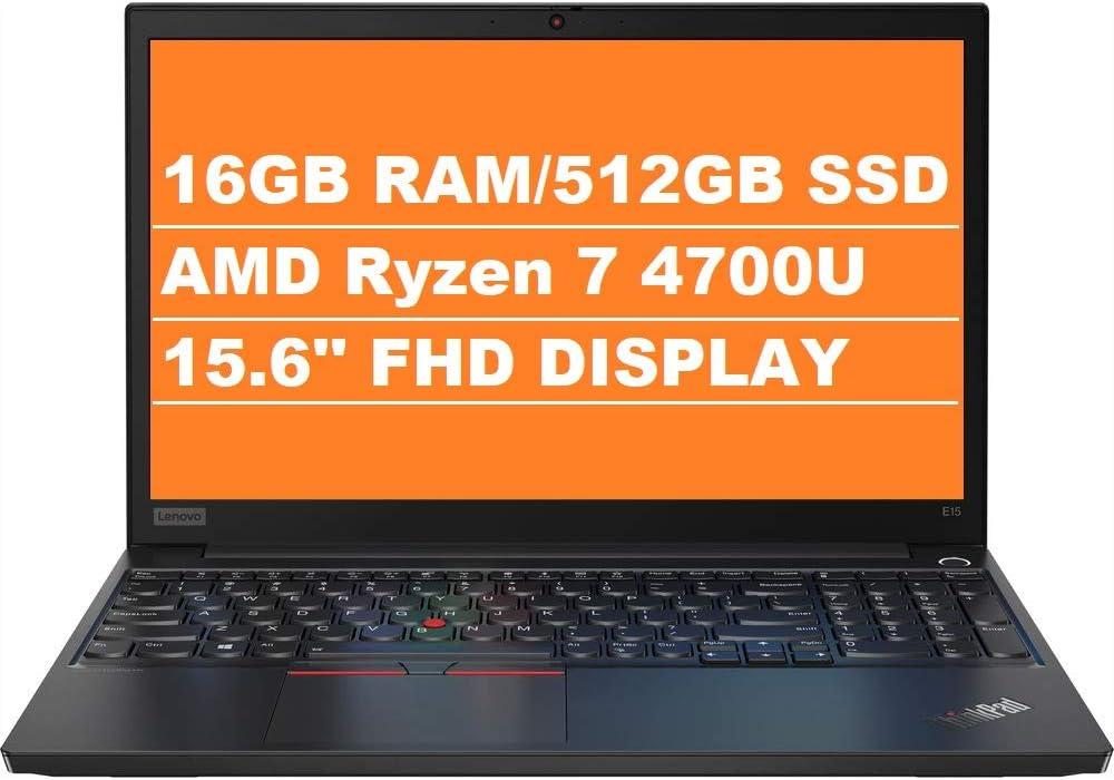 "2020 Lenovo ThinkPad E15 Gen 2 15.6"" FHD 1080p Business Laptop (AMD 8-Core Ryzen 7 4700U (Beats i7-10710u), 16GB DDR4 RAM, 512GB PCIe SSD) Wi-Fi 6, Webcam, Windows 10 Pro + IST Computers HDMI Cable"