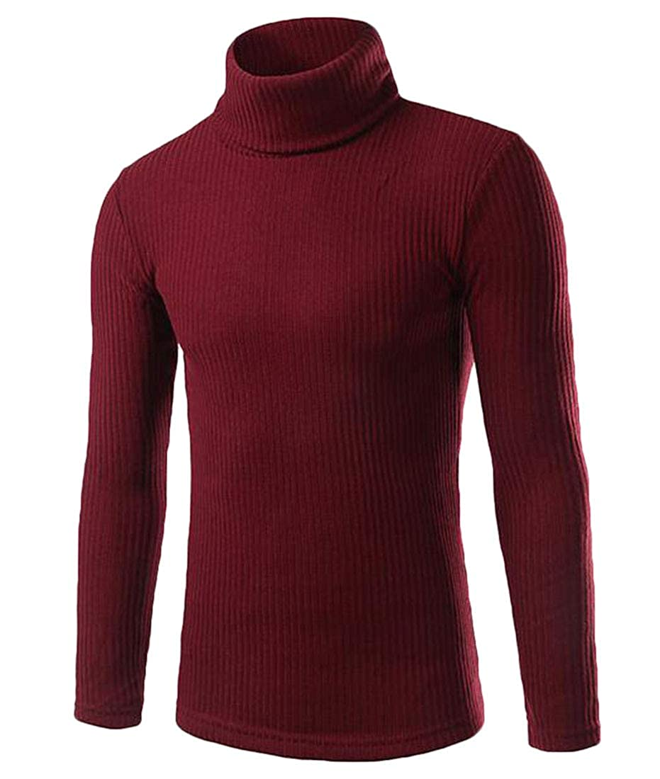 GRMO Men Ribbed Kintted Long Sleeve Over Sized Turtleneck Pure Color Sweater