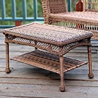 Jeco Wicker Patio Furniture Coffee Table in Honey