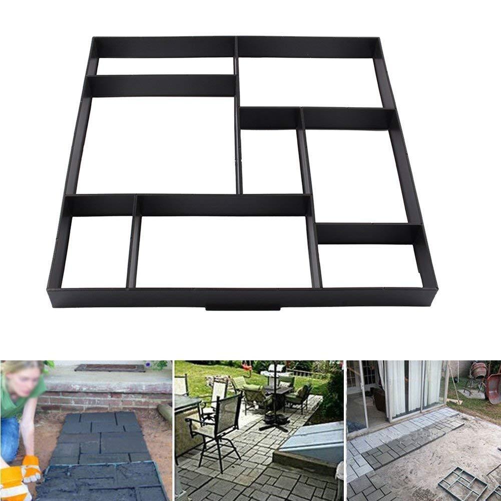 Concrete Mould, 8 Grid Solid Brick Paving Mould Pathmate Path Maker Slab Mould for Garden Driveway Path Patio, 50 x 50 x 4.5cm Greensen