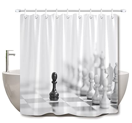 Amazon LB Black White Chess Board Shower Curtains For Bathroom