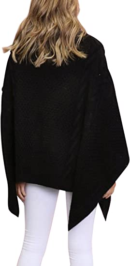 Knit Poncho Top Turtle Neck Ribbed Front Faux Leather Pockets Easy Wear S M L