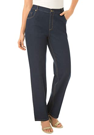 a65ab054d6d44 Woman Within Plus Size Side-Elastic Straight Leg Cotton Jean - Indigo