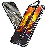 OURJOY iPhone Xs Max ケース iPhoneXs Max バンパー 航空宇宙 アルミニウム 金属フレーム 背面 透明 強化 ガラス マグネット式 磁力で接続 Qi ワイヤレス 充電対応 耐衝撃 アイフォンXs Max ケース クリア ストラップホール付き (iPhone Xs Max ケース ブラック)