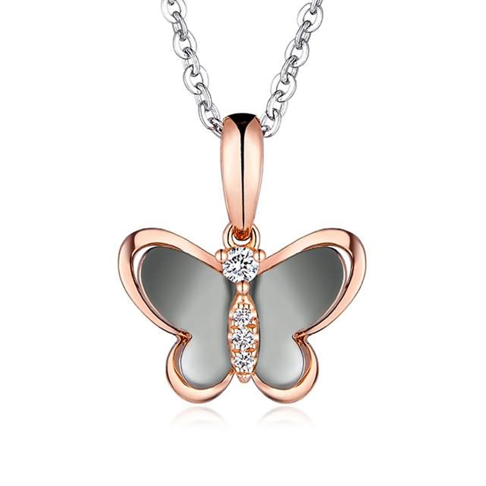 Adisaer 18k(750) Rose Gold Women Necklace 0.8g Butterfly Pendant Round Diamond Wedding Necklace