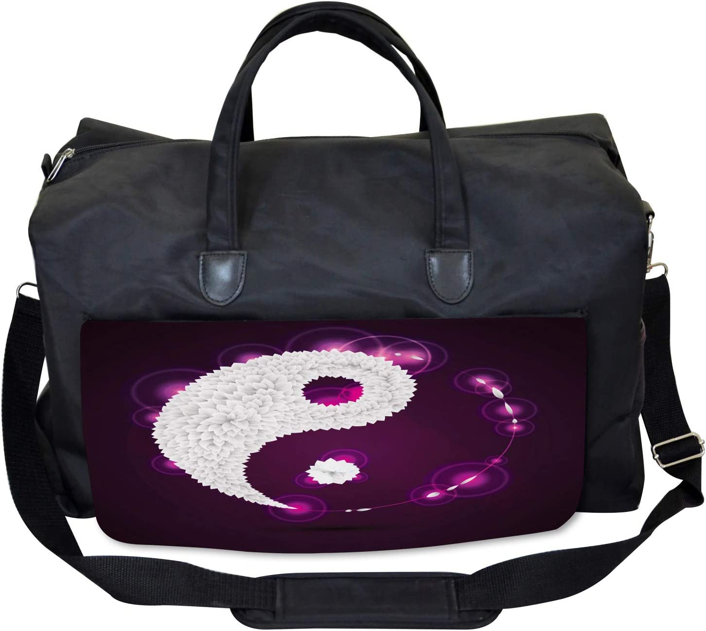 Industrial Design Large Weekender Carry-on Ambesonne Ying Yang Gym Bag