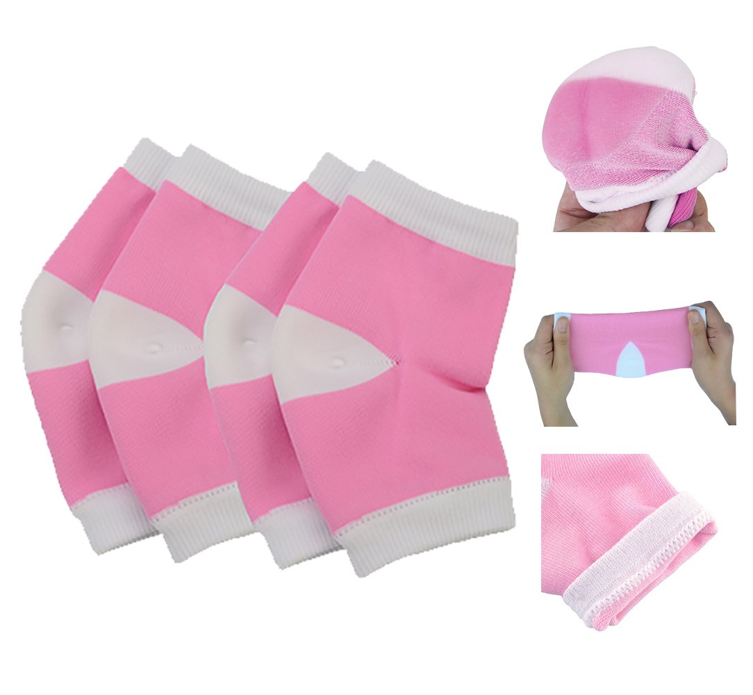 2 Pairs Moisturizing Silicone Gel Heel Socks for Dry Hard Cracked Skin Moisturizing Open Toe Comfy Recovery Socks For Most Size (Pink) Makhry MKSB03