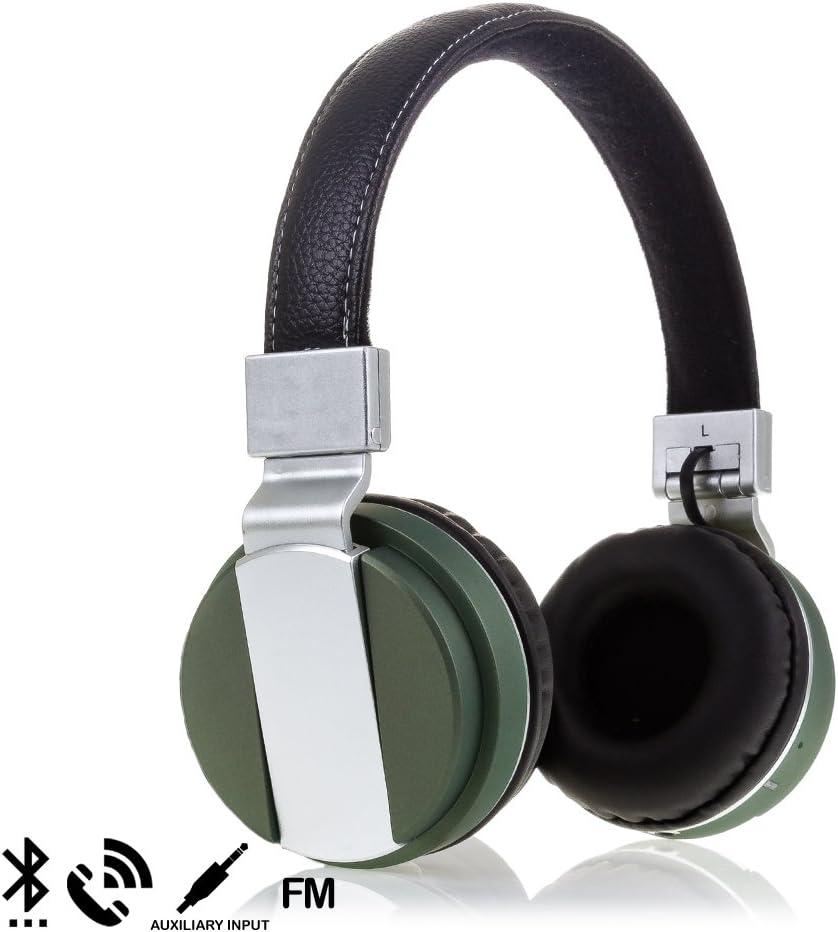 Silica DMR261GREEN - Cascos Diadema Plegables Deluxe Bluetooth bt008 Manos Libres, Color Verde