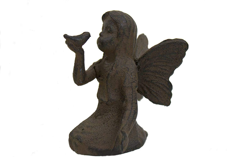 Cast Iron Sitting Angel W Bird Cherub Garden Statue Fairy