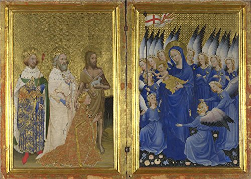 The Polyster Canvas Of Oil Painting 'English Or French The Wilton Diptych (1) ' ,size: 10 X 14 Inch / 25 X 36 Cm ,this High Quality Art Decorative Canvas Prints Is Fit For Game Room Decor And Home Artwork And Gifts (Halloween Projects For 3rd Graders)