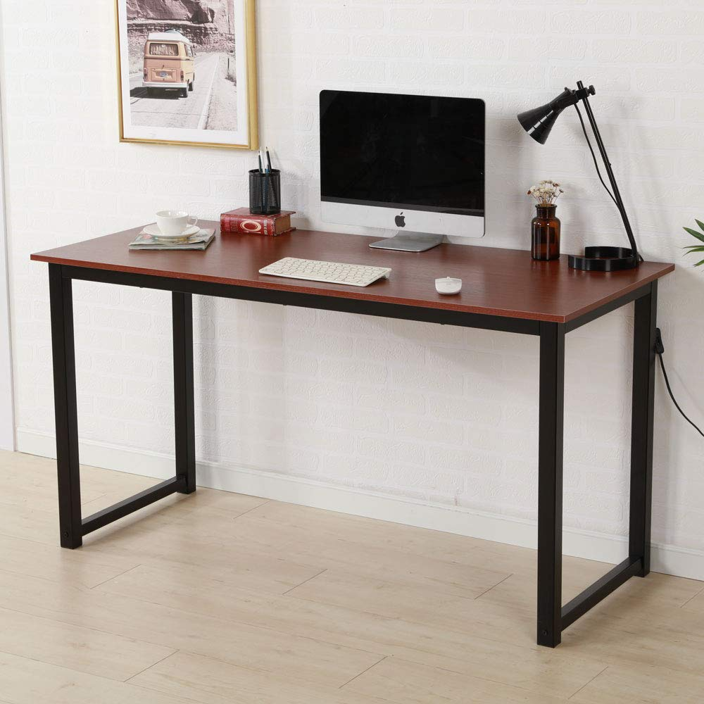 SSLine Computer Desk Classic Study Writing Table Wooden and Metal Home Office Workstion PC Laptop Desk - 55''x24''x29''
