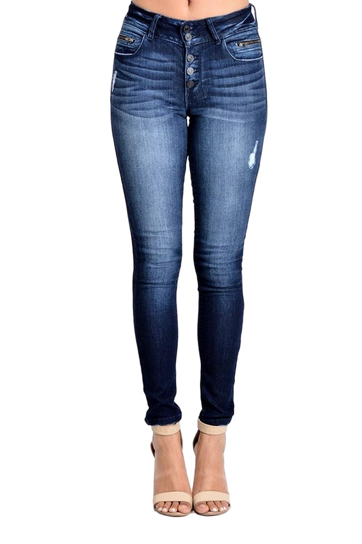 Kan Can Women's Light Destroyed Skinny Jeans Dark Wash KC8215D Shop