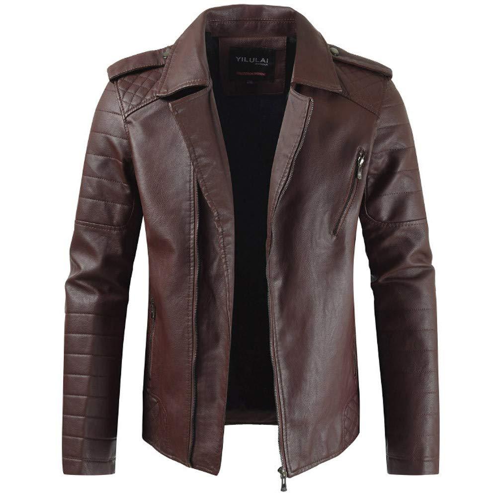 Kadola Men's Faux Leather Jacket Motorcycle Bomber Extra Thick Jacket Collar Zipper Collar