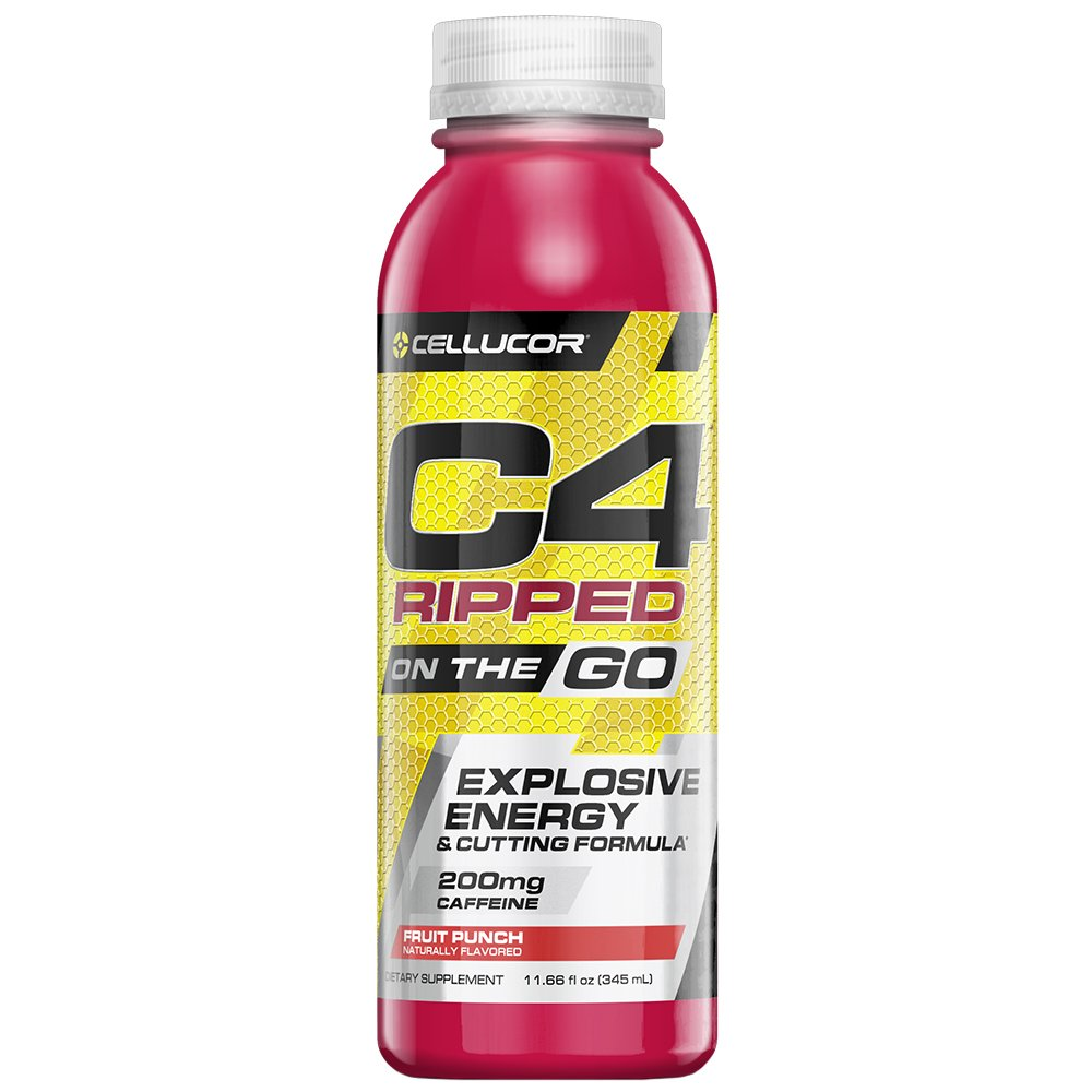 Cellucor C4 Ripped On The Go Zero Sugar Pre Workout Drink, Energy Drink + Fat Burner For Men & Women, Fruit Punch, 11.66 Ounce Bottles (Pack of 12)