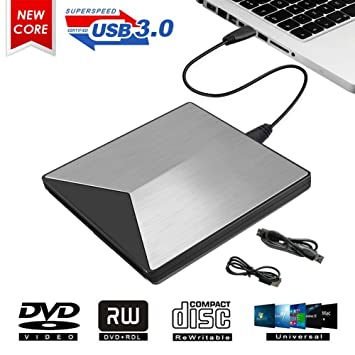 MingBin Grabadora CD DVD Externa,Portátil USB 3.0 Lector CD DVD Externo Unidad Óptica Externa de CD/DVD-RW Ultra Slim Reproductor DVD Compatible con ...