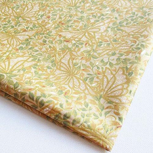 Np Fabric Asian Japanese Kimono Fabric Flower on Yellow G...
