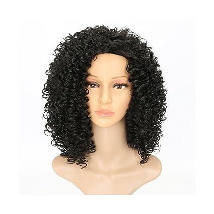 OKMIJNBH Pelucas, Mujer De Moda Gente Negra Volumen Africano Peluca 40.6Cm/16Inch