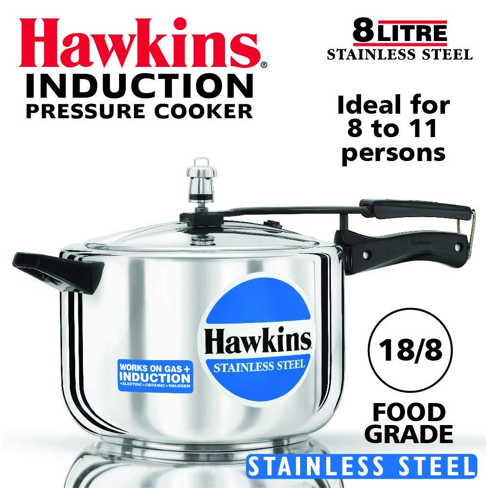 Hawkins B85 Pressure cooker, 8 L, Silver