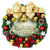 The Golden Bow Red Butterfly Christmas Wreath Garland Ornaments Arcades Hotel Christmas Decorations (35cm)