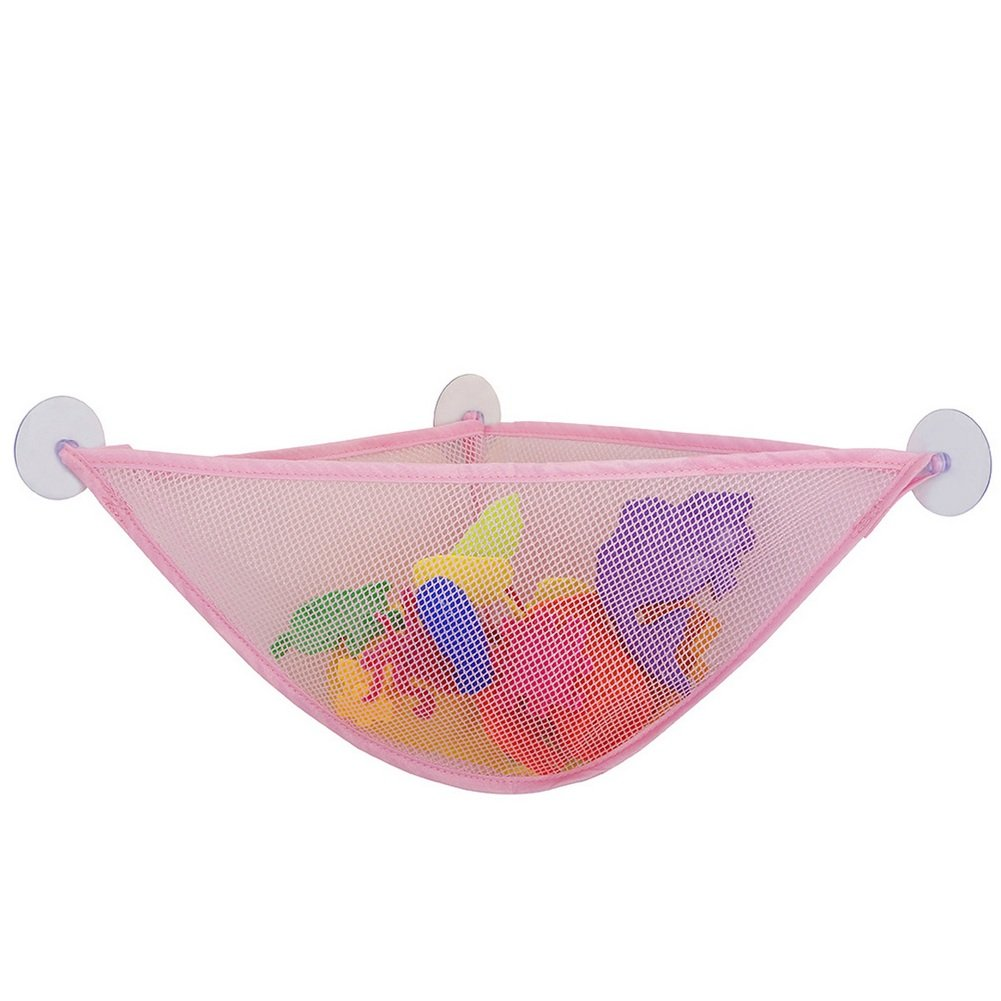 CHUANGLI Toy Storage Net for Stuffed Animals- 3 Strong Suction Cups Corner Shower Caddy Bag Bathroom Organizer