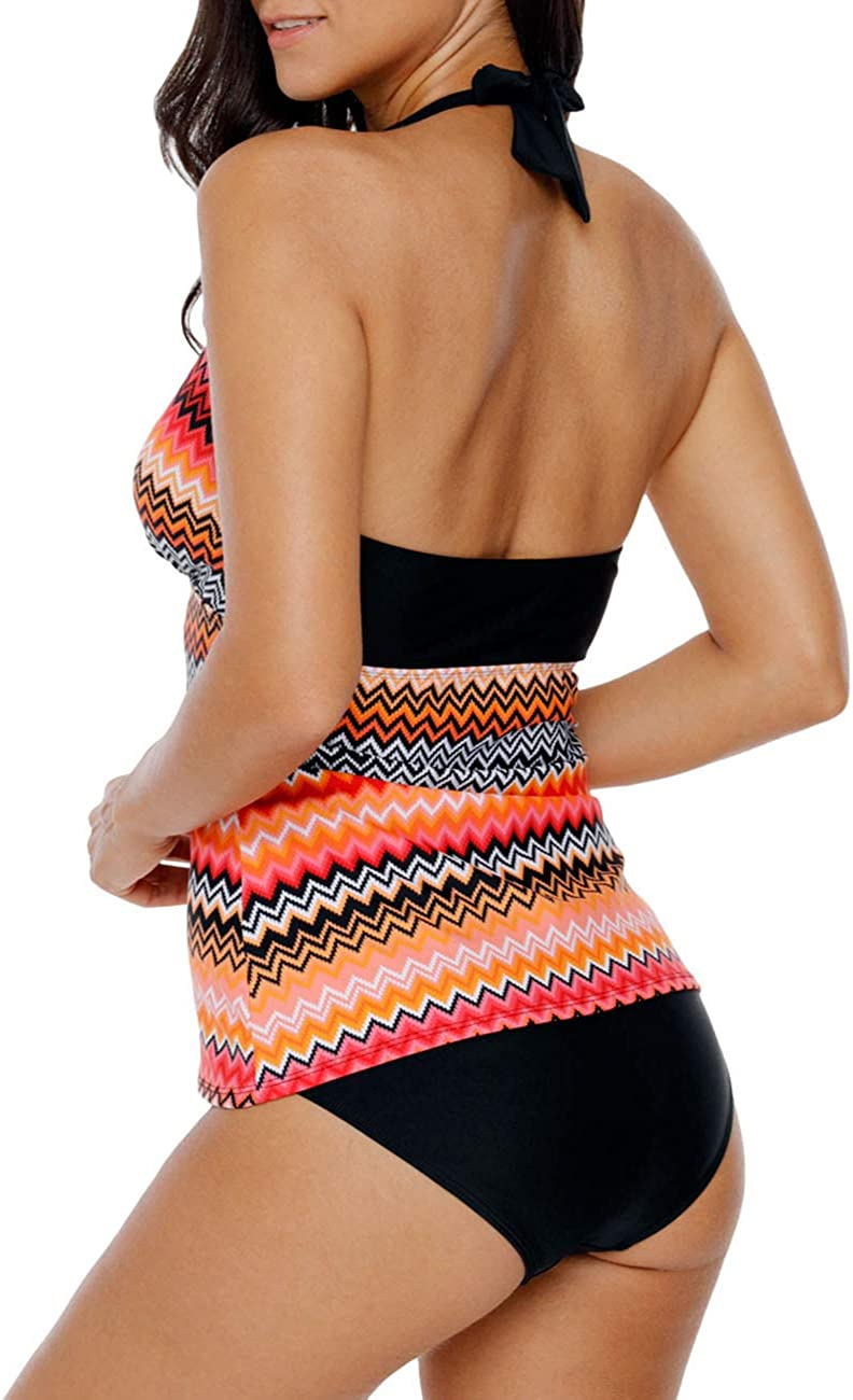 NO Bottom SEBOWEL Women Floral Print V Neck Swim Top Strap Bathing Suit Tankini Swimwear Tops