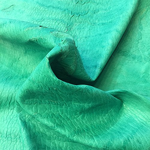 Genuine Green Leather Hide - Quality New Zealand Full Skin - 7 sq ft - 2-3 oz avg Thickness - Rustic Finish - Natural Veg Tan Sheepskin Material - Soft Upholstery Fabric - Craft DIY Supply
