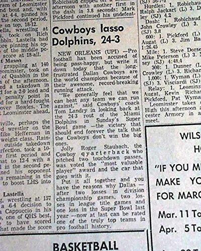 DALLAS COWBOYS Win Super Bowl VI Football Very 1st NFL Title 1975 Old Newspaper LEOMINSTER ENTERPRISE, Massachusetts, January 17, (Dallas Cowboys Super Bowl Wins)