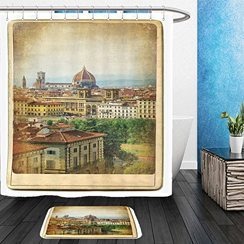 [Vanfan Bathroom 2?Suits 1 Shower Curtains & ?1 Floor Mats european landmarks series vintage card florence 37130851 From Bath room] (Florence And The Machine Costume)