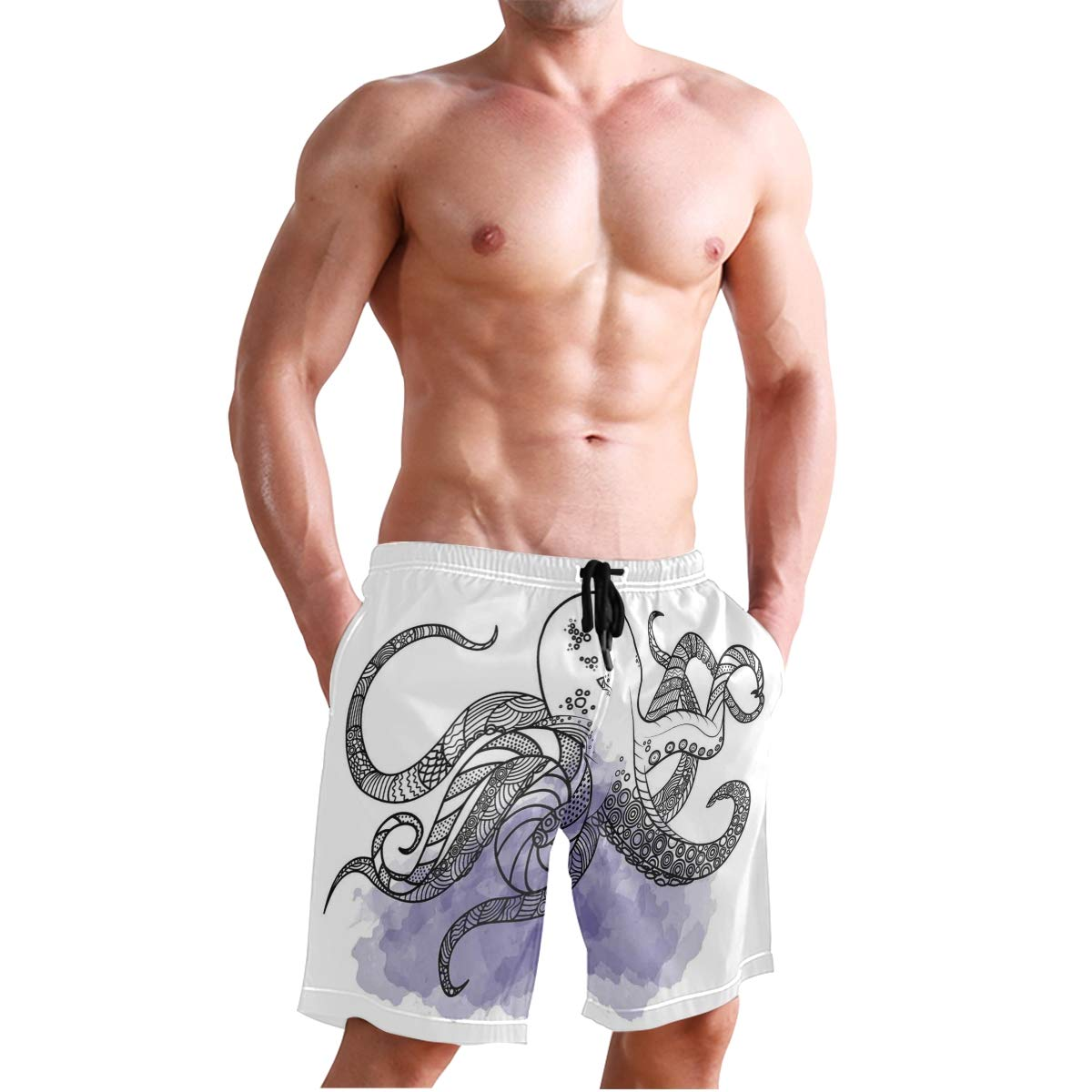 COVASA Mens Summer ShortsLine Art Drawing Style Marine Creature with Tribal Et