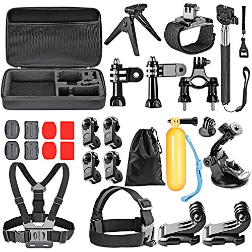 Neewer 25-In-1 Accessory Kit for GoPro Hero 6 5 4 3+ 3 2 1 Hero Session 5 Black AKASO EK7000 Apeman SJ4000 5000 6000 DBPOWER AKASO VicTsing WiMiUS Rollei QUMOX Lightdow Campark and Sony Sports DV by Neewer