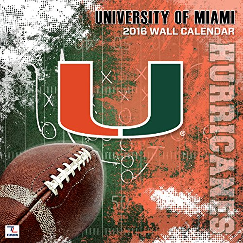 "Turner Miami Hurricanes 2016 Team Wall Calendar, September 2015 - December 2016, 12 x 12"" (8011806)"