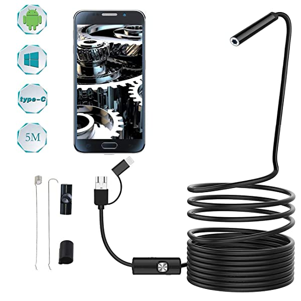 Endoscope Inspection Camera - 3 in 1 Equipped USB/Micro USB/Type-C for HD Borescope Interface - Waterproof Endoscope Camera for Android, Win7, Win8, Vista & XP-16.4ft/5M(8.0mm) (8.0mm) (Tamaño: 8.0mm)