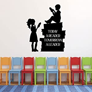 CustomVinylDecor Vinyl Wall Decal Reading Quote | Today A Reader Tomorrow A Leader with Children Reading | Classroom or Home Decor Sticker for Bedroom, Playroom, Classroom or Book Nook