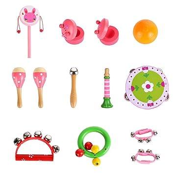 14pcs instrumentos musicales para niños juguete de madera música Instrumentos Niños Juegos el aprendizaje aprender música
