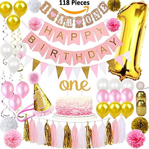 FunDeco Party 1st Birthday Decorations for Girl Mega Set | Princess Pink and Gold Girls Theme Kit | First Bday 1 Year Hat, Cake Topper, Balloons, Happy Birthday Banner, Pom Poms, More Decor Supplies