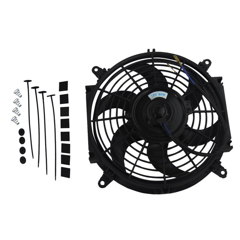 OzCoolingParts Radiator Fans Engine Cooling Fans Cooling Electric Thermo Curved Blade Fan + Mounting KIT 12V (10 ') HHAUTOSTORE