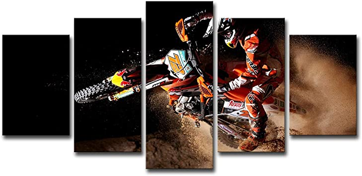 Shompe Framed Dirt Bike Canvas Poster Wall Art 5 Panels Motorcycle Paintings Hd Prints X Game Sports Motor Pictures Artwork For Living Room Modern Home Decorations Posters Prints Amazon Com