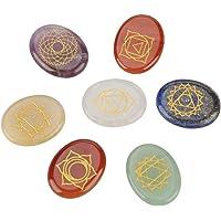 Juego de 7 piedras de chakra con grabado