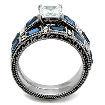 1 Carat Princess CZ w Sapphire Blue CZ Womens Stainless Steel Wedding Bridal Anniversary Ring Set