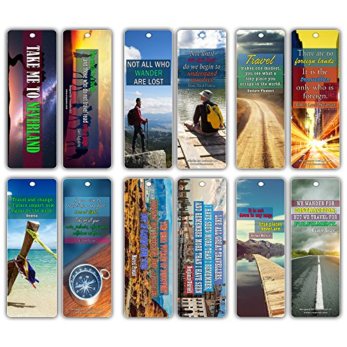 Creanoso Inspiring Travelling Quotes Travel Bookmarks (30-Pack) - Inspirational Reading Sayings for Travelers, Explorers - Essential Bookmarker Collection Set for Men, Women, Adult, Adventurers (The Little Land By Robert Louis Stevenson)