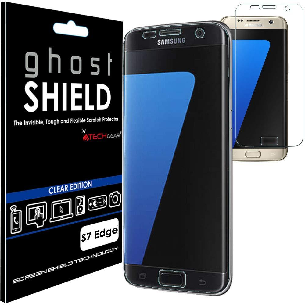 Techgear - Protector de pantalla para Samsung Galaxy S7 Edge [ghostshield Edition] Genuine reforzado TPU protector de pantalla protector funda con pantalla ...