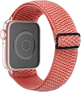 CRAZITAYA Adjustable Elastic Watch Band Compatible for Apple Watch 38mm 40mm 42mm 44mm,Stretchy Watch Strap Suitable for Iwatch Series 6 5 4 3 2 1 (Orange_Pink, 42mm/44mm)