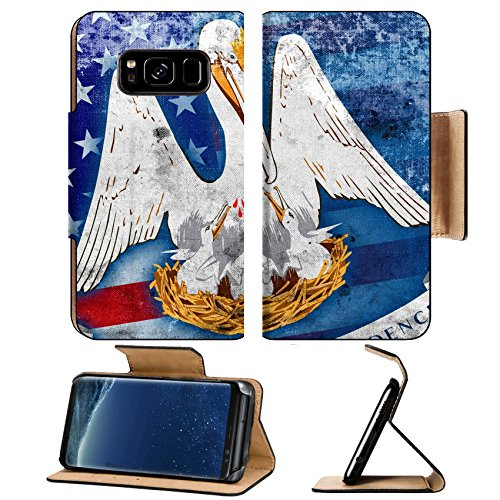 Luxlady Premium Samsung Galaxy S8 Plus S8+ Flip Pu Leather Wallet Case IMAGE ID: 34605222 USA and Louisiana State Flag with a vintage and old - On Target State St