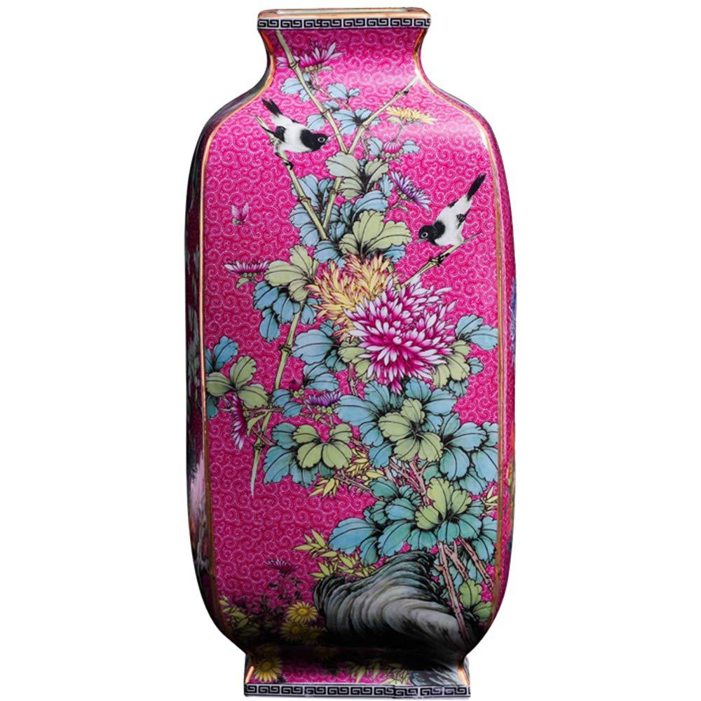 スクエアセラミック花瓶ホームリビングルームイラスト花瓶アンティークパウダー正方形の花瓶手作りセラミック花瓶 B07MQCGKJ6