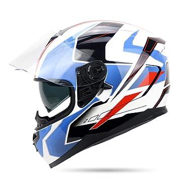ZCRFY Cascos Abierto Integrales Motocross Motocicleta Casco Doble Visera Parasol Frontal Cara Completa Crash Cómodo Casco